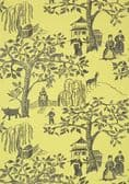 Anna French Willow Wood Wallpaper in Citron